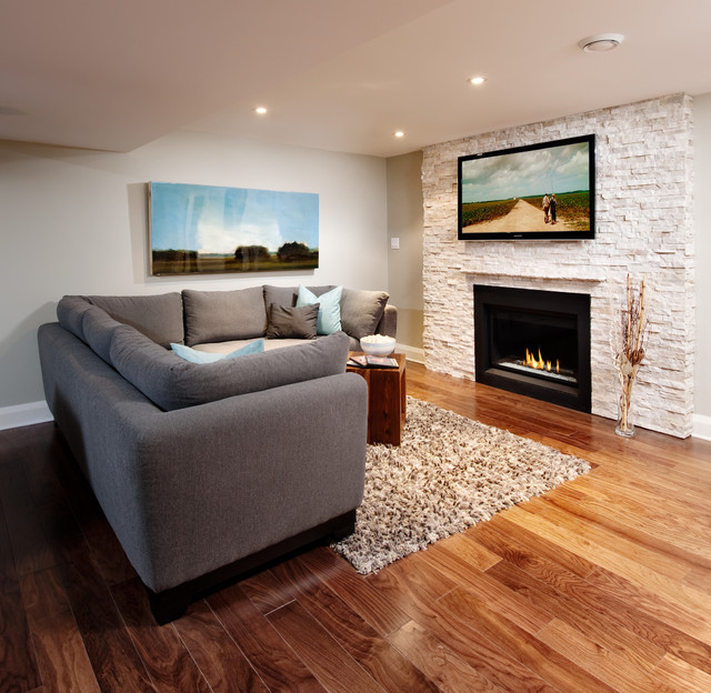 natural stone fireplace with tv  Contemporary  Family Room  portland  by Realstone Systems