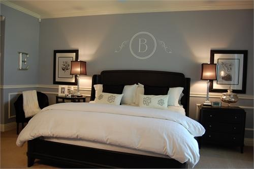 simple light blue walls master bedroom grey blue bedroom with dark furniture.jpg