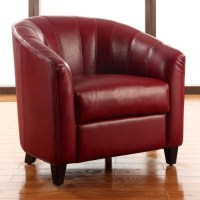 Hadley Faux Leather Accent Chair - Burnt Red ...