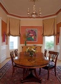Victorian style window treatments in bronze satin fabric ...