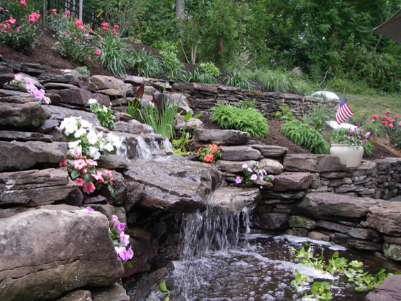 waterfall pond with dry stack stone