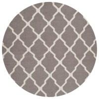 Contemporary Dhurries Round 6' Round Dark Gray