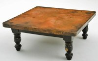 Copper Coffee Table - Wood Pedestal Base - Eclectic ...