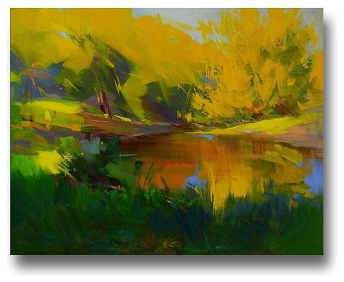 modern landscape painting in yellow