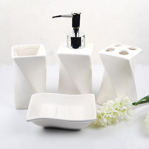 Elegant White Ceramic Bathroom Accessory 4Piece Set