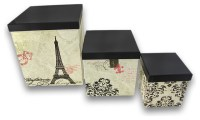 Paris Themed Nesting Storage Boxes Set of 3 - Traditional ...
