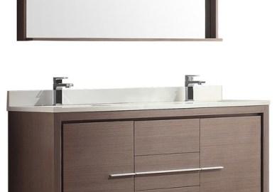 Fresca Allier 60 Inch W Double Sink Vanity In Grey Oak