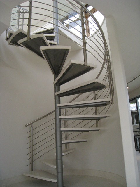 Modern Stainless Steel Spiral Stair and Rails