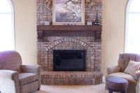 New Wood Mantel over Existing Brick Mantel