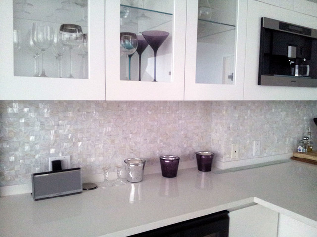 Mother of Pearl Wall Mosaics  Modern  Tile  miami  by