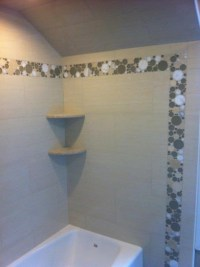 Shower using porcelain tile and bubble glass accents ...