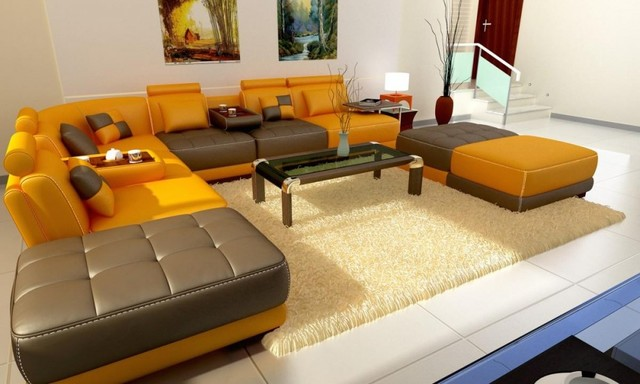 beige and brown leather sectional sofa with built in footrests buy my uk yellow bonded modern ...