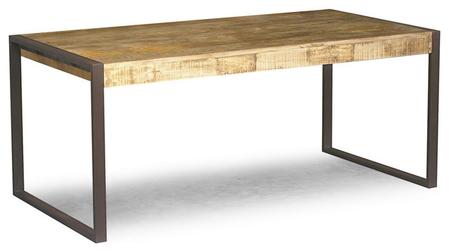 RECLAIMED MANGO WOOD DINING TABLE WITH METAL LEGS
