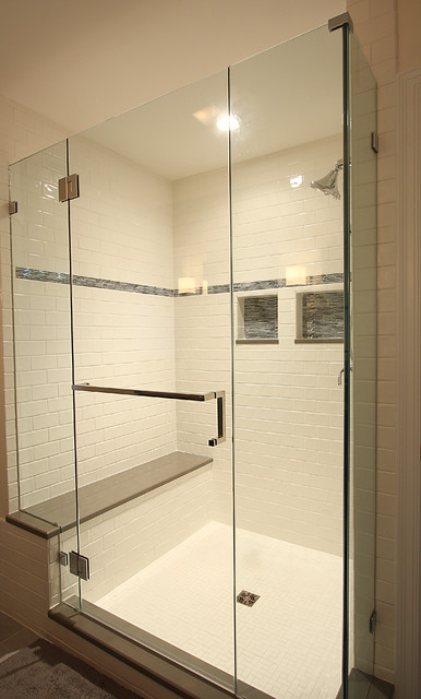 Large Tile Shower with Bench  Traditional  Bathroom  dc