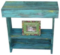 Aqua Distressed Wall Table - Rustic - Side Tables And End ...