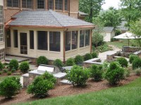 Screened Porch and Stone Patio With Outdoor Grill ...