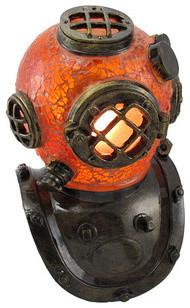 Crackle Glass Diver Helmet Accent Lamp Vintage Look ...