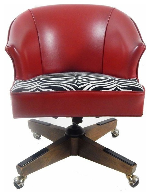 Vintage Red Vinyl Zebra Print Desk Chair Contemporary