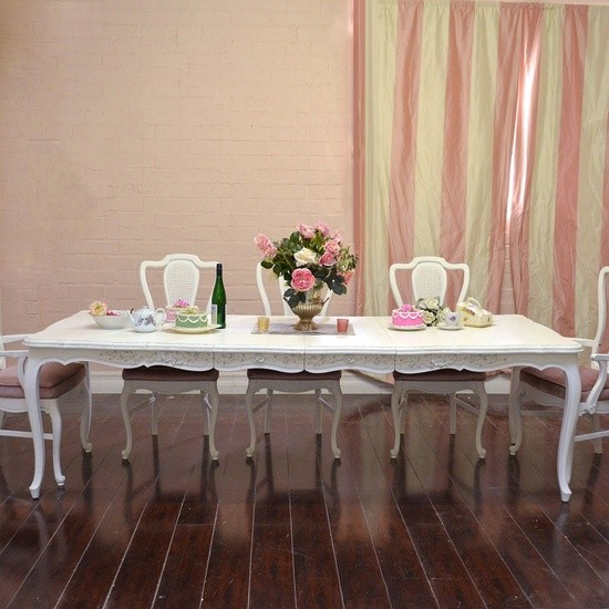 French Style Large White Dining Table with 2 Leaves