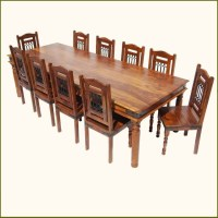11 PC Transitional Dining Room Table & Chair Set For 10