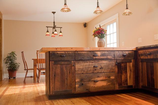 Reclaimed Oak Barnwood Cabinets Rustic Kitchen