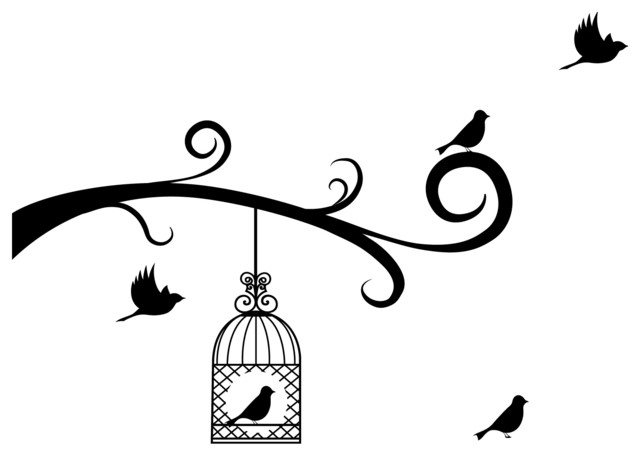 Bird Cage and Birds with Tree Branches, Left Decal