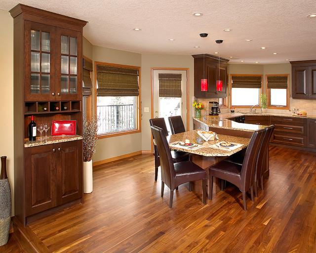 Walnut hardwood floor in kitchen  Contemporary  Kitchen