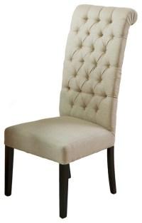 Jordan Tall Tufted Back Dark Beige Fabric Chair ...