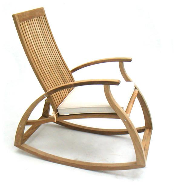 Aria Modern Contemporary Luxury Teak Rocking Chair