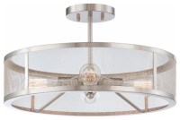 Mesh Industrial Semi Flush Mount Ceiling Light - Flush ...