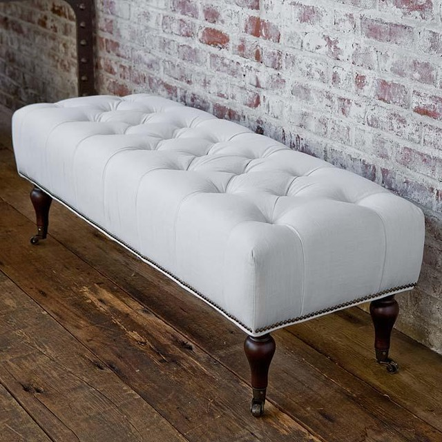Regina Andrew Tufted White Linen Bench  Traditional