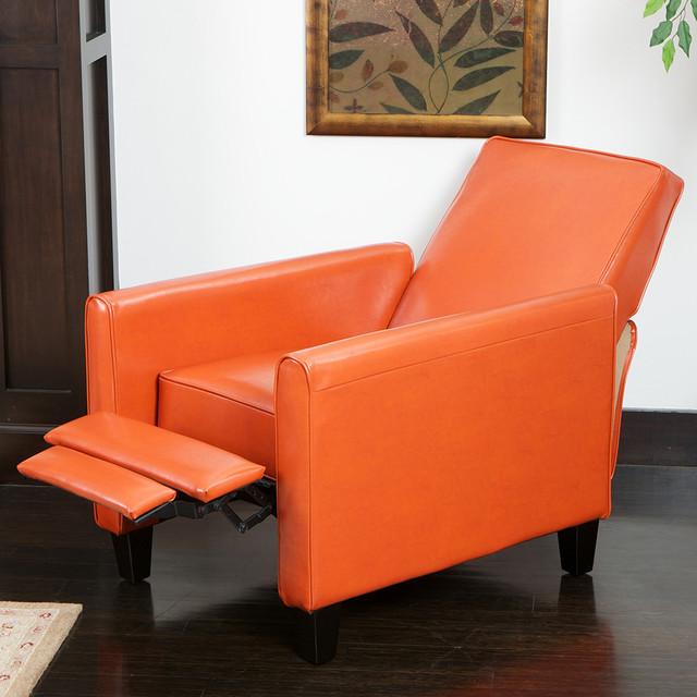 Lucas Orange Leather Recliner Club Chair  Modern  Living