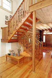 Log cabin, open staircase, reclaimed wood