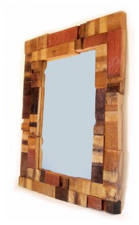 Mirrage, Large Wall Mirror recycled oak wine barrel staves ...