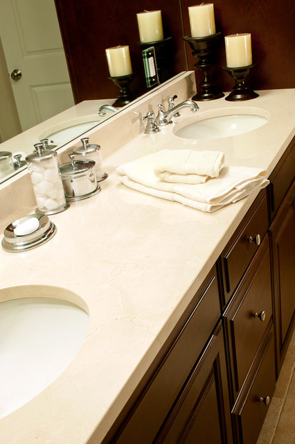 Crema Marfil Marble Vanity  Traditional  Bathroom  boston