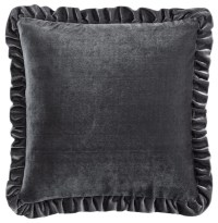 Velvet Cushion Cover, Dark Gray