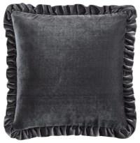 Velvet Cushion Cover, Dark Gray - Traditional - Decorative ...