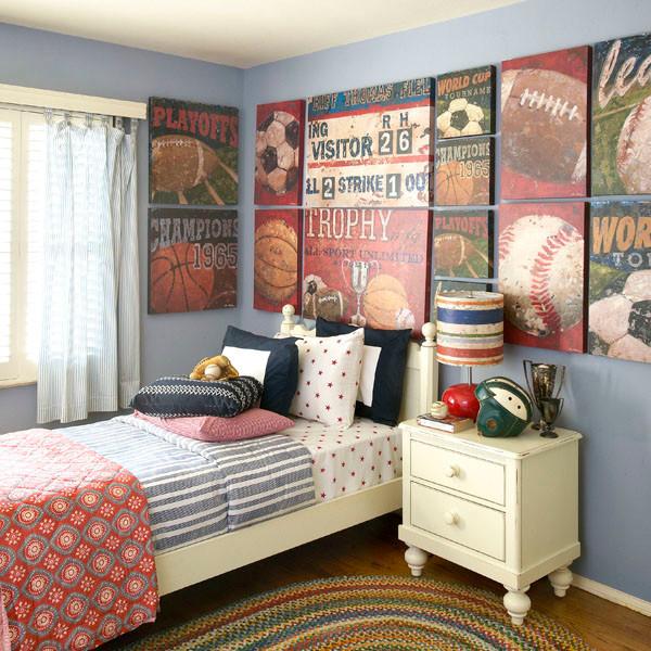 Vintage Sports Themed Boy's Bedroom