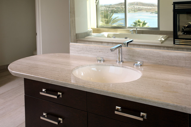 Haisa Light Polished Marble Countertop  Modern  Bathroom