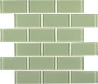 Mint Green Crystal Glass Subway Tile - Bathroom - other ...