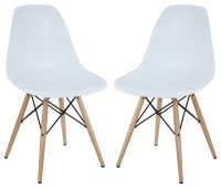 Pyramid Dining Side Chairs Set of 2 in White - Modern ...