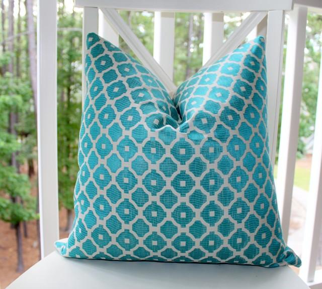 Aqua Blue Turquoise and Ivory Geometric Tile Designer