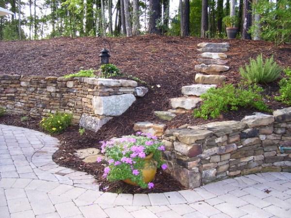 world retaining wall and patio