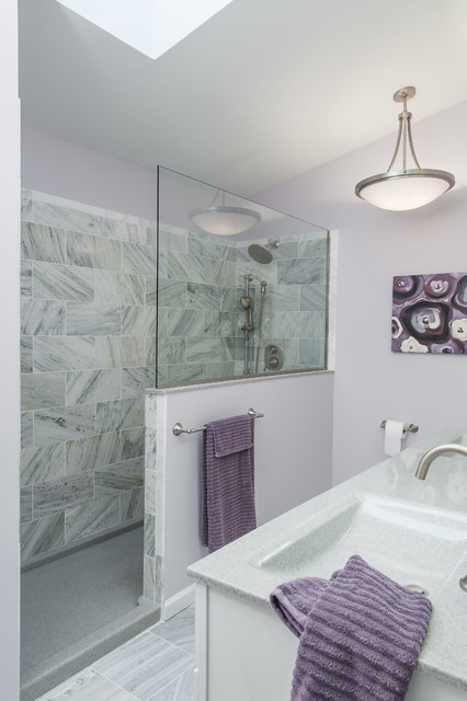 purple living rooms houzz how to arrange room furniture around a corner fireplace and gray bathroom - contemporary st ...