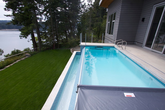 Photos Pender Island Infinity Edge Pool With Fastlane Swimspa Contemporary Pool Vancouver