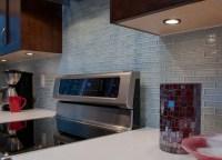 Clear Light Blue Glass Kitchen Backsplash - Kitchen - new ...