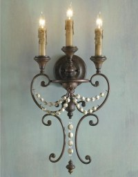 Distressed Wood Bead Sconce - 3 Lt. - Wall Sconces - by ...