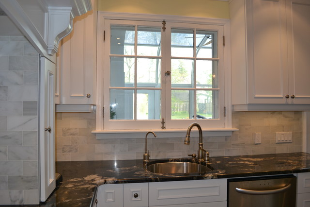 blue tile backsplash kitchen black island with seating white victorian - traditional toronto