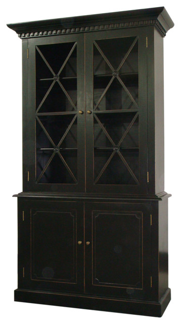 Humprey Cabinet in Distressed Black  Traditional  Pantry