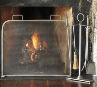 Vintage Pewter Single Screen Fireplace Screen ...